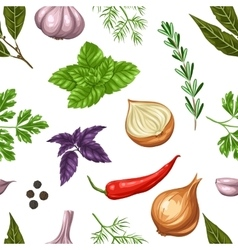Seamless pattern with various herbs and spices vector image