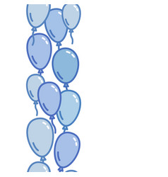 Seamless vertical decoration from blue balloons vector