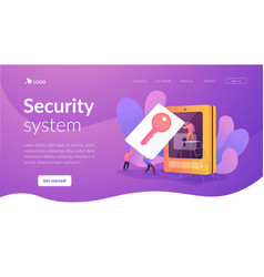 Security access card landing page template vector