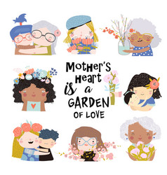 set cute for mothers day in vector image
