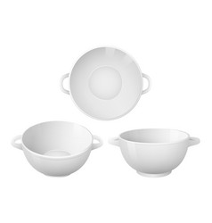 Set empty soup plates realistic style vector