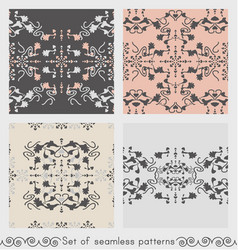 Set seamless patterns floral and hearts vector