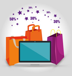 shopping bags with laptop to sale discount vector image