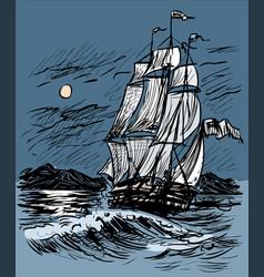 Sketch a sailing ship in night sea vector