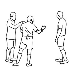 soccer player and referee sketch vector image