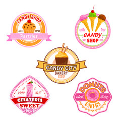 Sweet dessets icons for candy shop vector