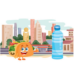 Taco character and water bottle on background vector