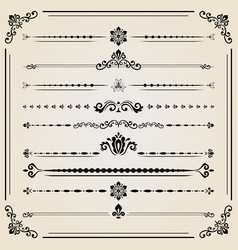 vintage set of ector horizontal elements vector image