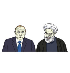Vladimir putin with hassan rouhani cartoon vector