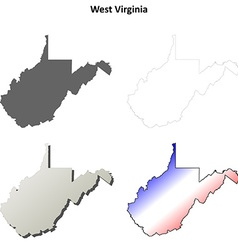 West virginia outline map set vector