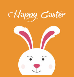 white easter bunny with a smile over orange vector image
