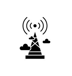 wireless broadcasting black icon sign o vector image