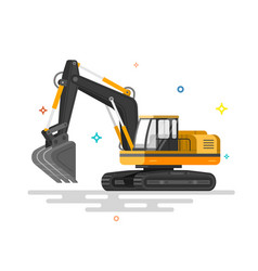 With flat industrial excavator vector