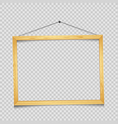 Wooden rectangular frame transparent vector