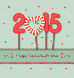 Year 2015 and heart candy background vector