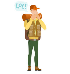 Young caucasian traveler laughing out loud vector
