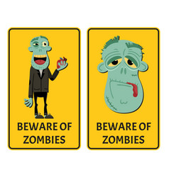 beware of zombies label set with happy monster vector image