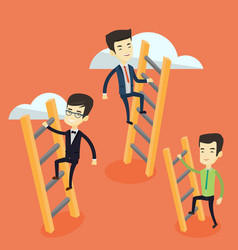 business people climbing to success vector image