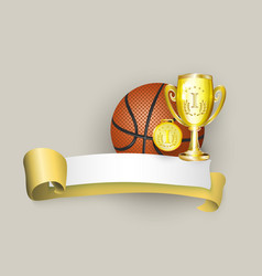flat cartoon basketball ball banner vector image vector image