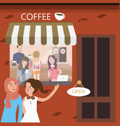 friends hangout in coffee shop restaurant meeting vector image
