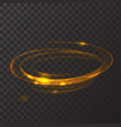 Gold circle light effect Glowing fire ring trace vector image vector image