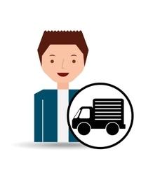 guy cartoon truck car icon vector image