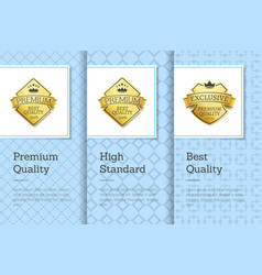 high standard best premium quality labels posters vector image