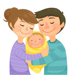 parents hugging a baby vector image vector image