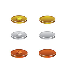 set of realistic coins vector image vector image