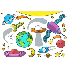 Space cartoon collection on white vector image vector image