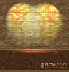 Brick wall with lighting and wooden floors vector image