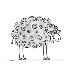 Funny grey sheep sketch for your design vector image vector image