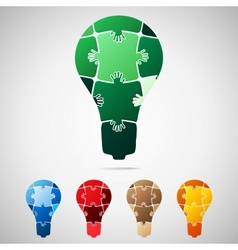 Lamp from puzzle pieces vector