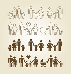 line and outline family icons set vector image vector image