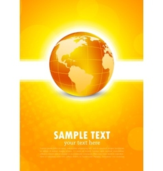 Orange background with globe vector image vector image