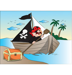 Pirates boat and treasure chest at riverbank vector