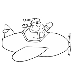 Santa claus flying plan cartoon vector image vector image
