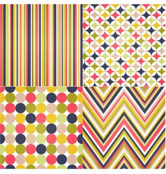 Seamless stripes zig zag and polka dots vector image