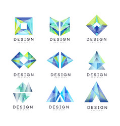 abstract logo design set gem geometric badge vector image