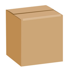 brown sealed square box mockup realistic style vector image vector image