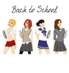 Fashionable school girl pack vector image vector image