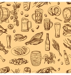 beer hand drawing pattern vector image vector image