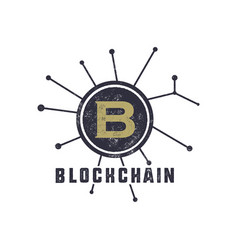blockchain emblem concept digital assets logo vector image