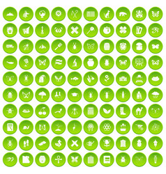 100 insects icons set green circle vector image