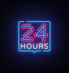 24 hours neon sign design template vector