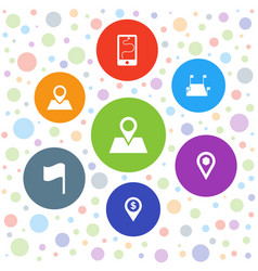 7 gps icons vector image