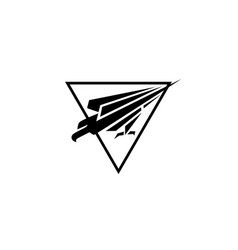 abstract falcon logo black and white vector image
