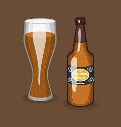 alcohol beer transparent glass and bottle vector image