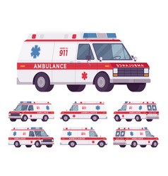 Ambulance car rescue set vector