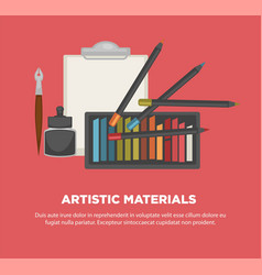 artist paiting materials tools art vector image